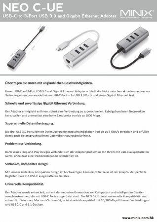 MINIX NEO C-UE, USB-C auf 3-Port USB 3.0 und Gigabit Ethernet Adapter